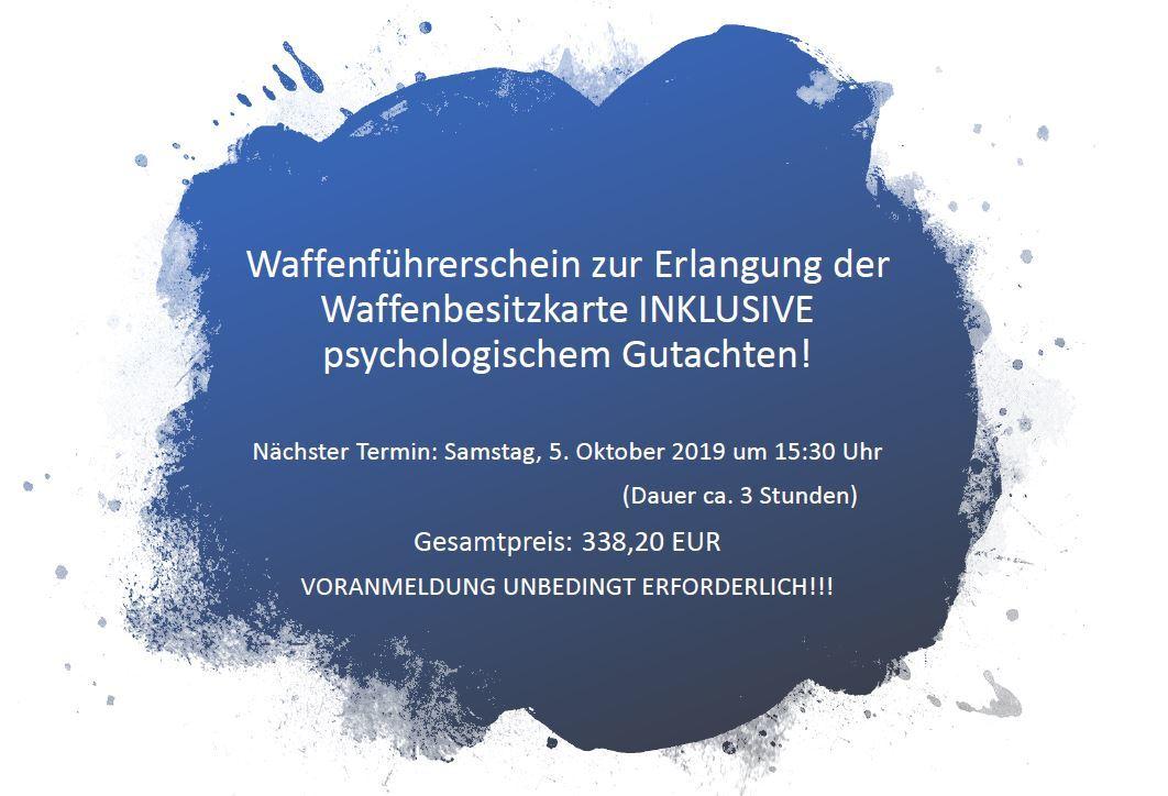 Waffenführerschein inkl. psychologischem Gutachten